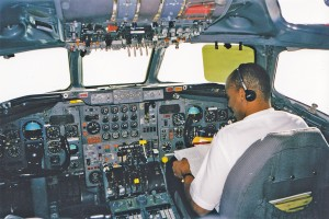 Somewhere over the ocean in the Douglas DC-8.   Photo by author.