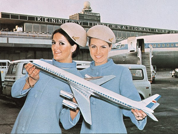"Icelandic Airlines stewardesses in a photo from Keith Lovegrove's ""Airline."""