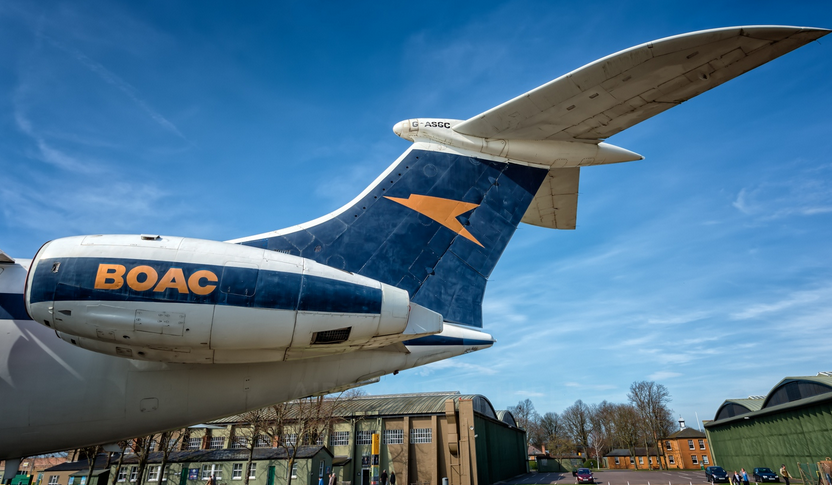 "The ""Speedbird"" logo atop the tail of a BOAC VC-10."
