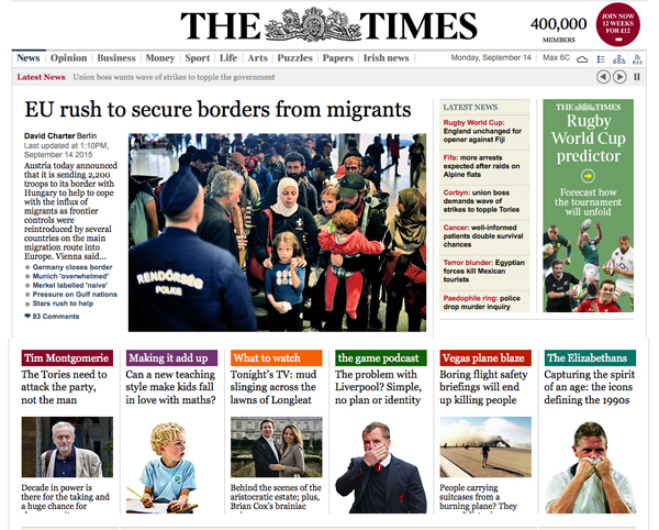London Times Front Page