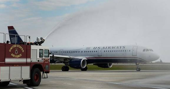 A water cannon salute for the final U.S. Airways flight.      (Charlotte Observer)